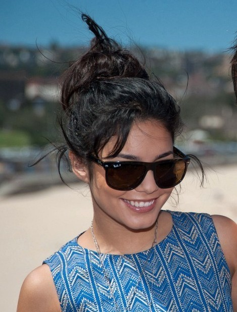 Vanessa hudgens loose bun hairstyle for summer