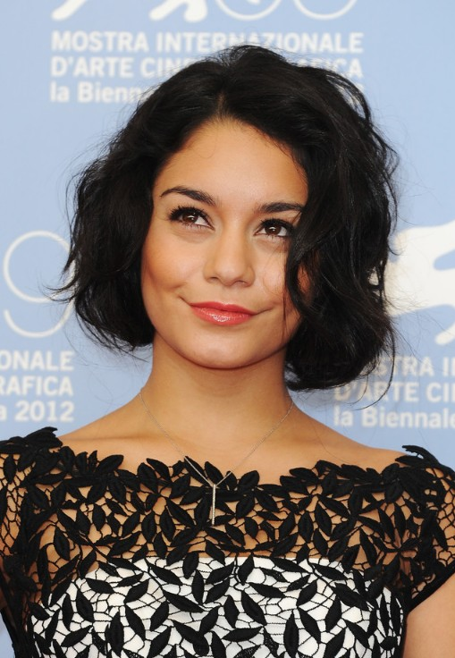 Vanessa Hudgens Latest Hairstyles: Cute Short Black Wavy Bob Haircut