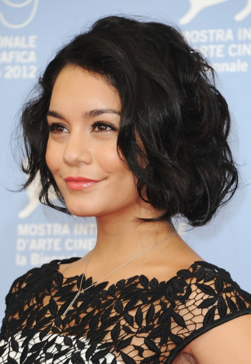 Vanessa Hudgens Latest Haircut Short Black Wavy Bob Cut