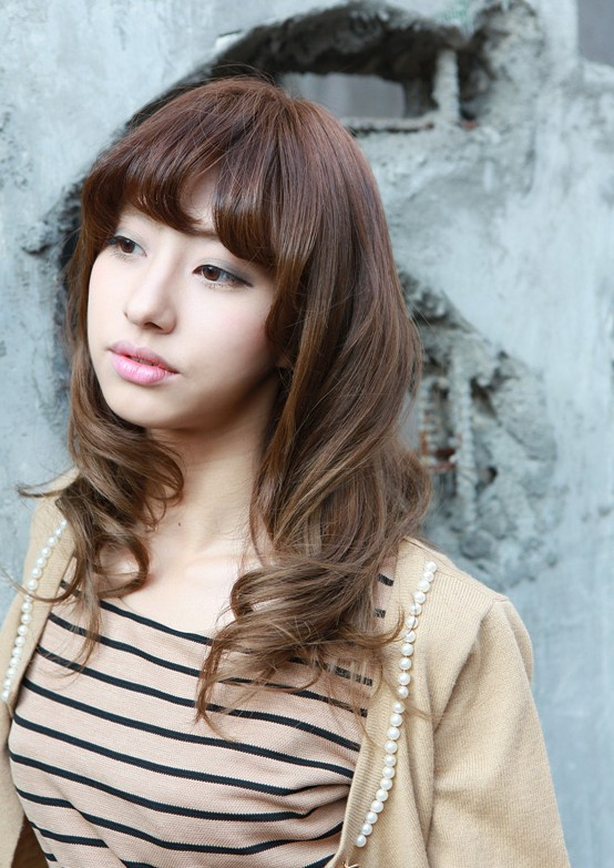 Marvelous Asian Girls Shoulder Length Wavy Hairstyle With Full Bangs Hairstyles For Men Maxibearus