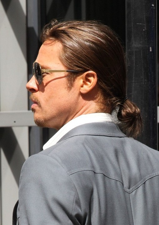 Pleasing Brad Pitt Haircut Stylish Casual Ponytail For Men Hairstyles Weekly Short Hairstyles For Black Women Fulllsitofus