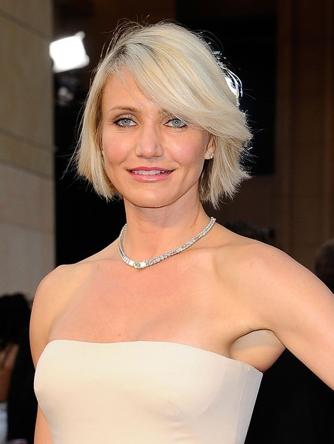 Awesome Cameron Diaz New Haircut Short Blonde Bob Hairstyle With Bangs Hairstyles For Men Maxibearus
