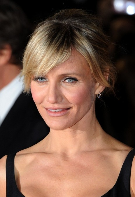 Cameron Diaz Chignon Updo With Side Swept Bangs