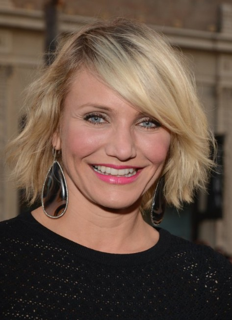 Cameron Diaz Short Choppy Bob Hairstyle With Side Swept Bangs