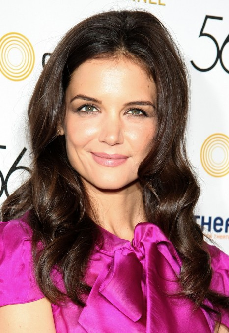 katie holmes casual long curly hairstyle - hairstyles weekly