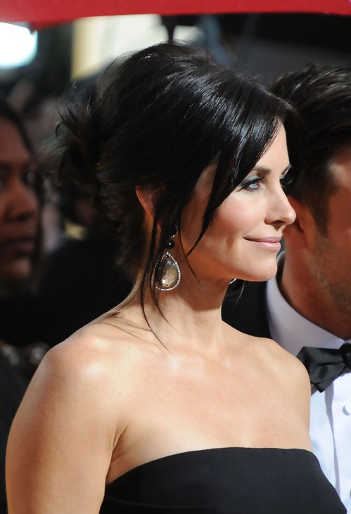 Side View of Courteney Cox French Twist Updo