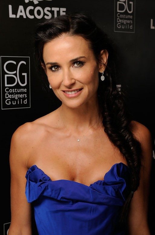 Demi Moore Side French Fishtail Braid Hairstyle for Long Hair