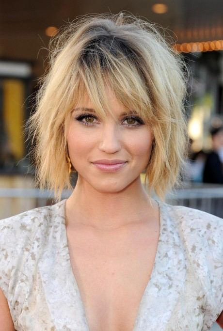 Dianna Agron Layered Short Ombre Bob Hairstyle with Bangs ...