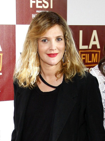 Drew Barrymore Medium Length Tousled Ombred Hairstyle