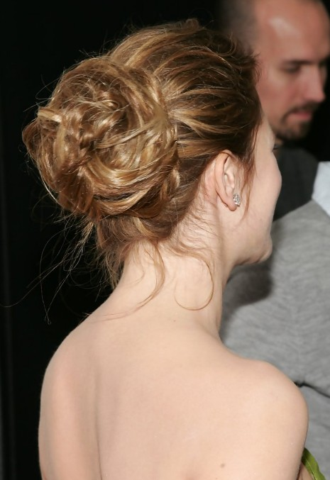 Pleasing Drew Barrymore Romantic Twisted Bun Updo For Wedding Hairstyles Short Hairstyles For Black Women Fulllsitofus