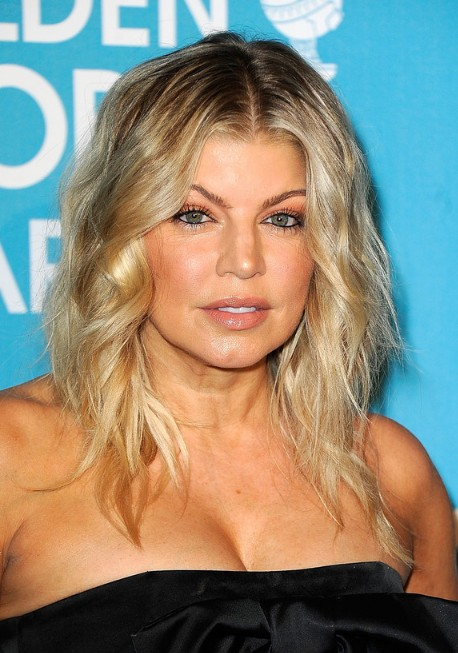Picture of Fergie Hairstyle: Center Parted Medium Tousled Ombre Hair ...