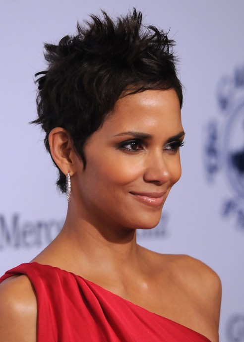Halle Berry Hairstyle Side View Of Black Pixie Cut