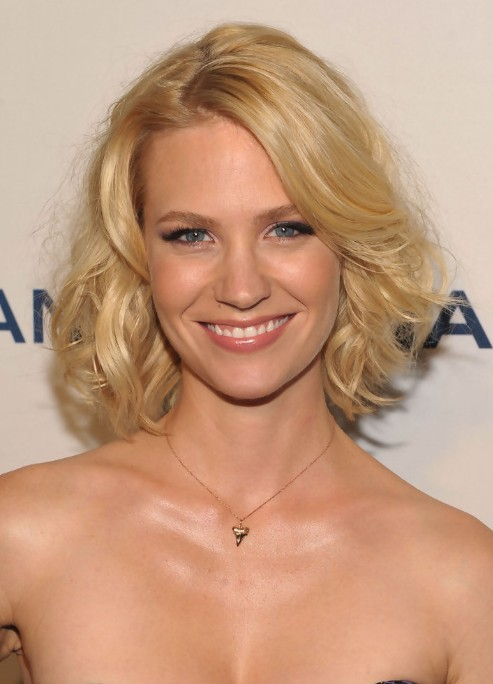 January Jones Medium Blonde Curly Hairstyle