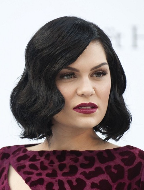 Jessie J Hairstyles Short Black Wavy Bob Hairstyle for