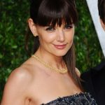 Katie Holmes Ponytail Hairstyle with Blunt Bangs
