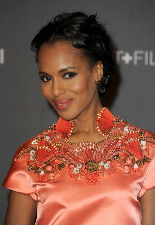 Kerry Washington Short Black Curly Updo Hairstyles Weekly