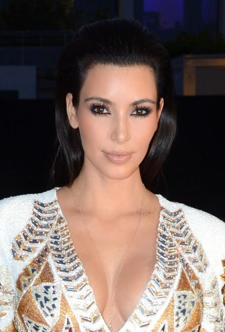 Kim Kardashian Long Black Straight Hairstyles