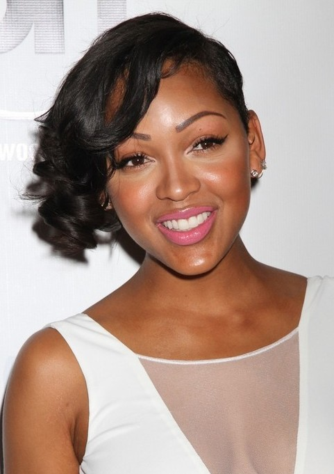 Meagan Good Short Curly Asymmetric Hairstyle