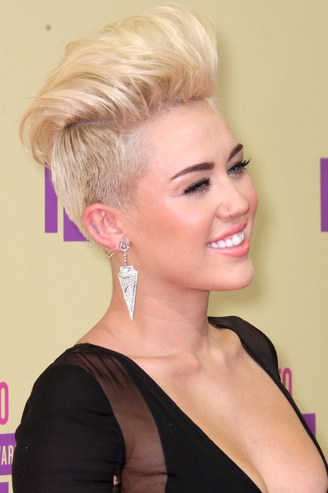 Picture of Miley Cyrus Shaved Soft FauxHawk Hairstyle /Getty Images ...