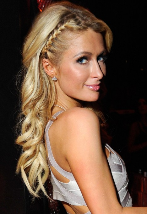 Paris Hilton Cute Braided Hairstyle for Long Hair
