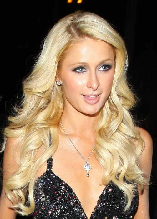 Paris Hilton Layered Long Blonde Hairstyle With Curls