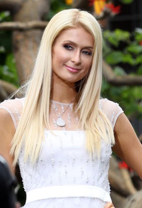 Paris Hilton Long Hairstyles: Blonde Straight Cut for ...