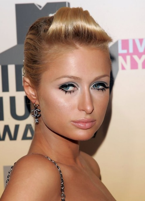 Paris Hilton Sophisticated Sleek Retro Updo Hairstyle For