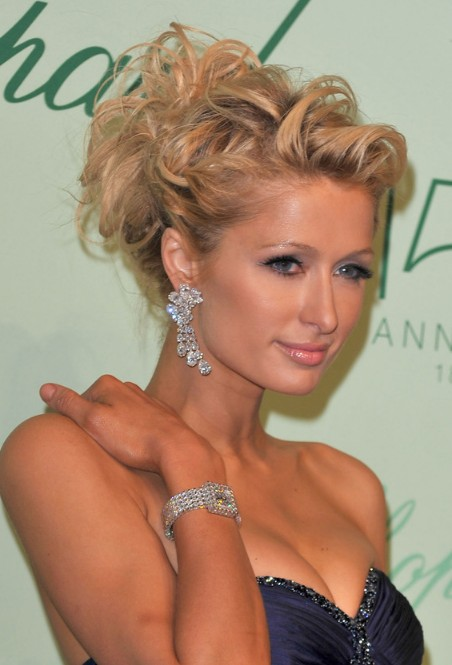 Astonishing Paris Hilton Romantic Messy Curly Updo For Wedding Hairstyles Weekly Hairstyle Inspiration Daily Dogsangcom