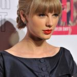 Taylor Swift Braided Updo with Blunt Bangs