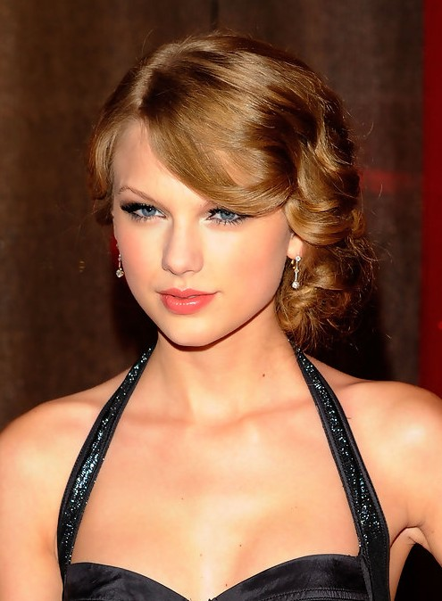 Taylor Swift Retro Updo Hairstyle with Bangs