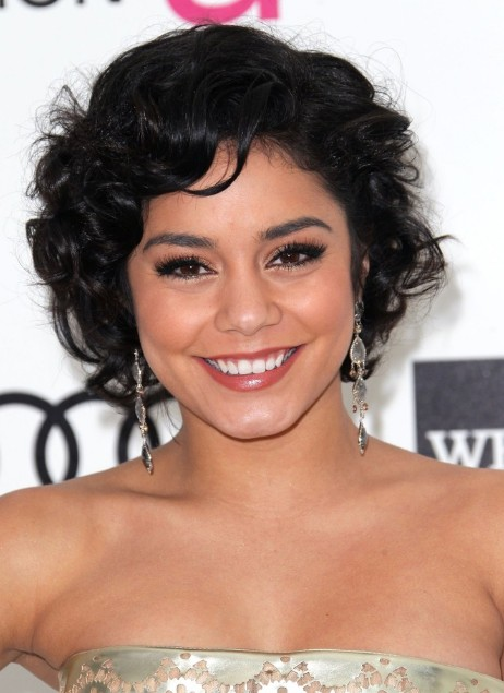 Groovy Vanessa Hudgens Short Curly Bob Hairstyle With Bangs Hairstyles Hairstyle Inspiration Daily Dogsangcom