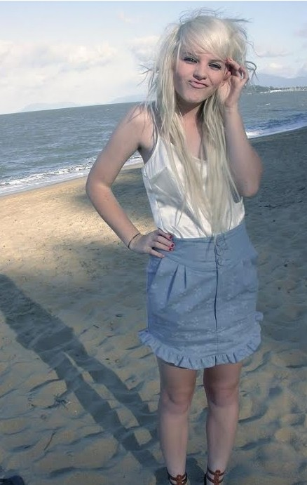 Cute emo girl with long white hair