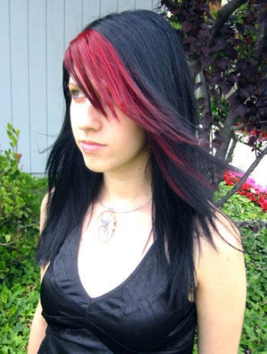 Red highlight Emo hairstyle