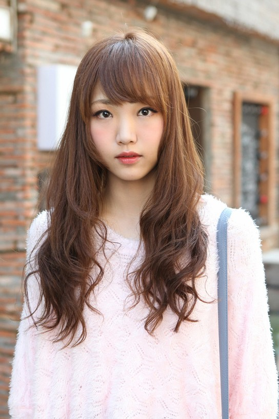 Cute Korean Hairstyle for Girls: Long Brown Hair With Bangs ...