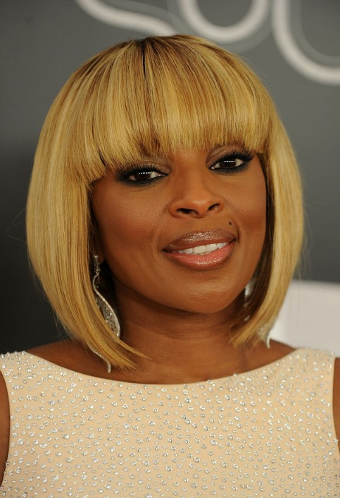 Mary J Blige Trendy Short Inverted Bob Cut Hairstyles Weekly