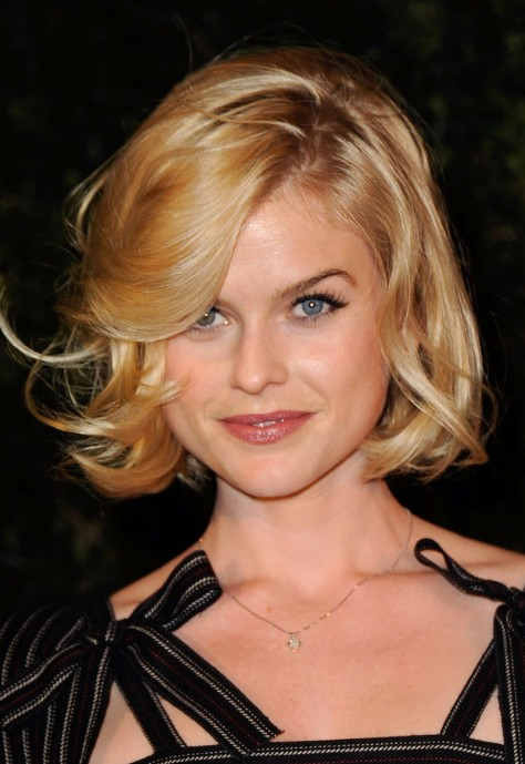 Alice Eve Short Shiny Tousled Curly Bob Hairstyle