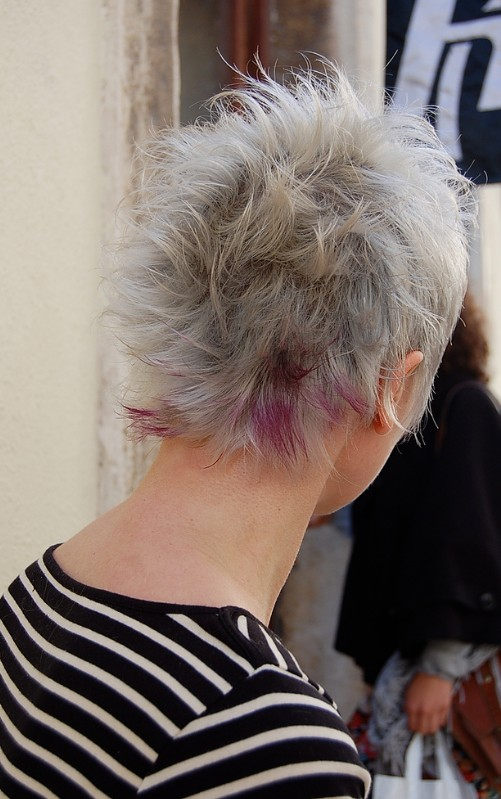 Back View of Asymmetric Gray and Purple Hairstyle