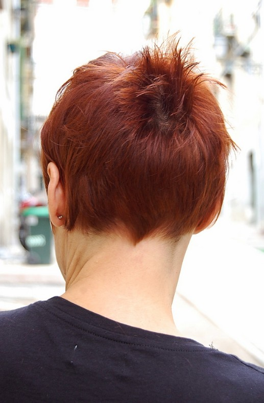 Back View of Boyish Short Red Haircut