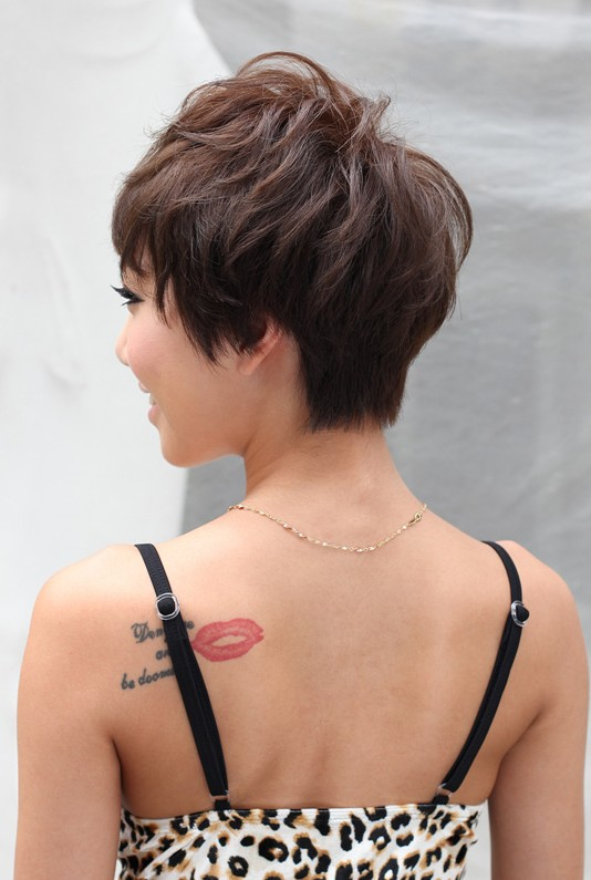 Back View of Layered Short Haircut