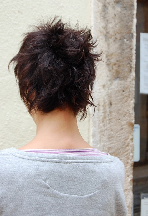 Back View of Short Messy Bob Cut
