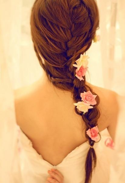 sexy romantic braided hairstyle with flowers for wedding