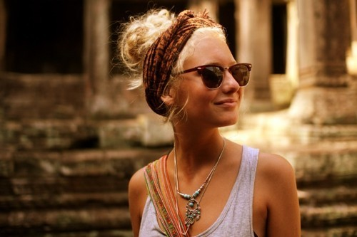 Bohemian Chic Twisted Braid Updo Hairstyle