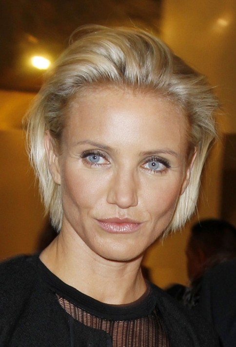 Cameron Diaz Simple Combed Back Bob Hairstyle Hairstyles