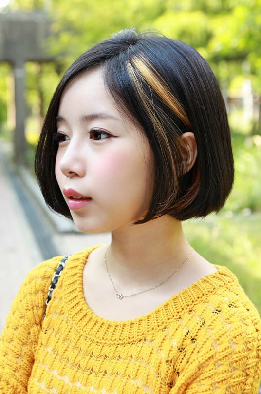 Asian Hairstyles Super Trendy Golden Highlight Bob