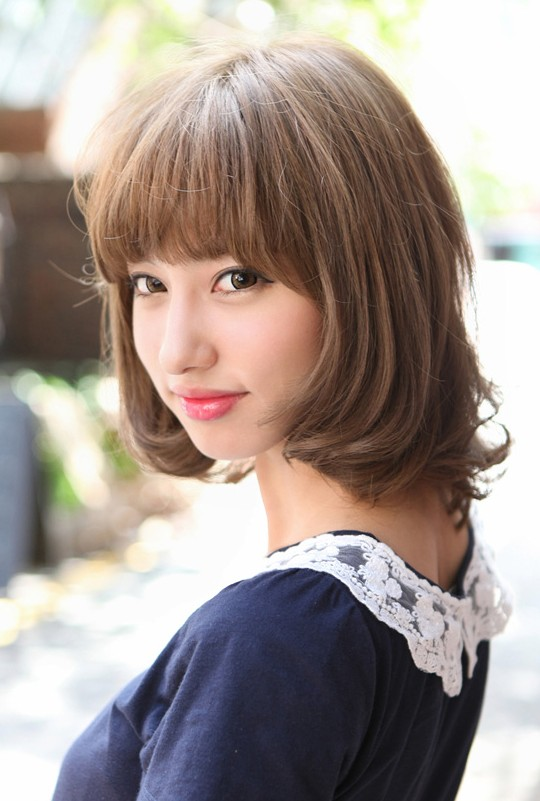 Cute Japanese Bob Hairstyle With Blunt Bangs Hairstyles