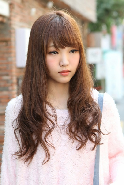 Fine Cute Korean Hairstyle For Girls Long Brown Hair With Bangs Hairstyles For Men Maxibearus