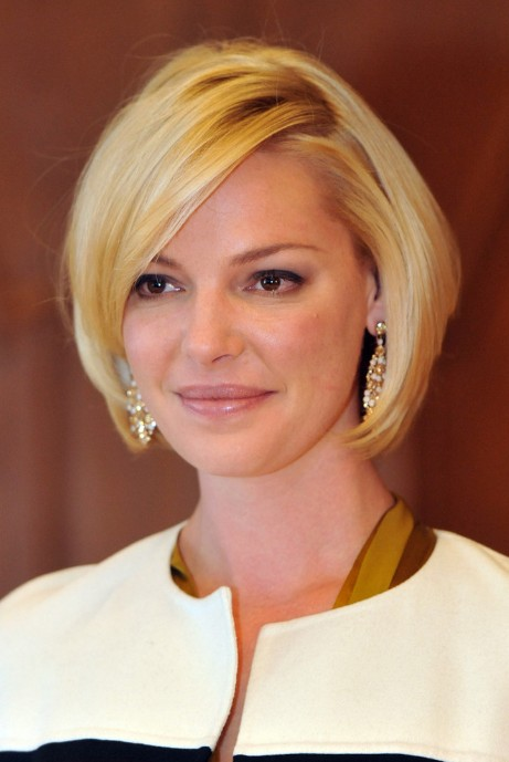 Katherine Heigl Chic Subtly Layered Smooth Bob Hairstyle