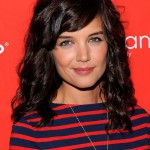 Katie Holmes Medium Dark Brown Curly Hairstyle with Side Swept Bangs