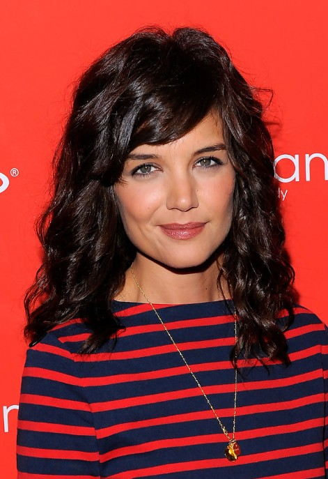 Katie Holmes Medium Dark Brown Curly Hairstyle with Side Swept Bangs ...