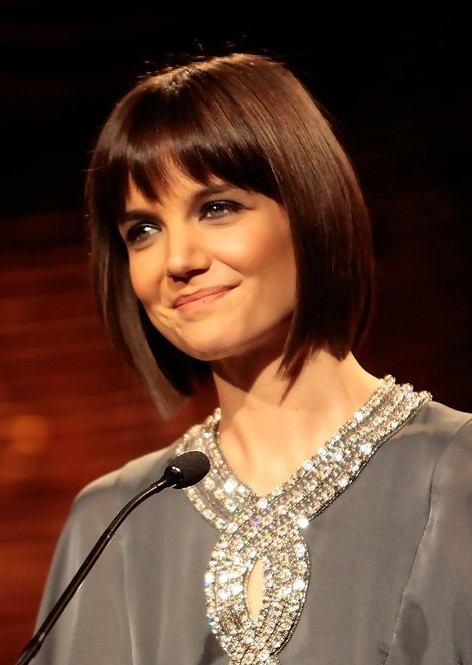 Katie Holmes Short Funky Bob Hairstyle With Bangs